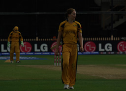 Emma Sampson walking back to her bowling mark