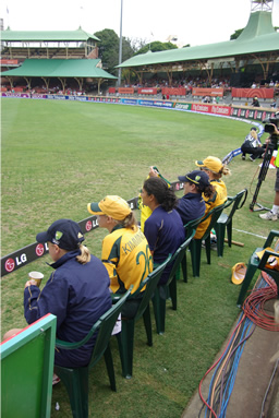 The Australian team watching the play unfold from the boundary rope