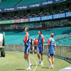 Kevin Pietersen and Sajid Mahmood during fielding drills