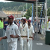 Left to right: Daren Powell, Brian Lara, Dwayne Bravo. Peeking at back: Daren Ganga.