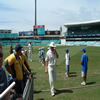 Matthew Hoggard and Steve Harmison leave the field after bowling practice