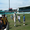 Steve Harmison leaves the field after bowling practice