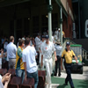 Andrew Flintoff leads his side out onto the Sydney Cricket Ground