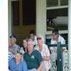 Sajid Mahmood and Ashley Giles on the balcony