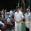 Andrew Flintoff leads England back onto the field after lunch