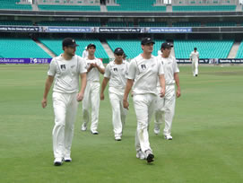 New Zealand players walking off the field
