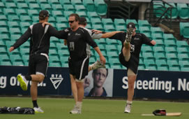 New Zealand players warming up