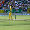 Glenn McGrath watches an attempted runout