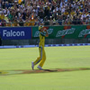 Brad Hogg takes a catch to dismiss Chamara Kapugedera