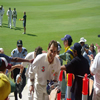 Justin Langer coming off at Tea on 100*