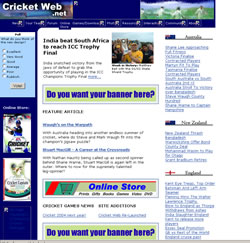 Cricket Web Design - 2002