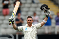 AUCKLAND, NEW ZEALAND - FEBRUARY 07:  Brendon McCullum of New Zealand celebrates his 200 run double century during day two of the First Test match between New Zealand and India at Eden Park on February 7, 2014 in Auckland, New Zealand.  (Photo by Phil Walter/Getty Images)