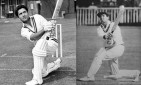 Hanif Mohammad and Tom Graveney in similar pose