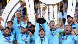 England's men's team lift the World Cup Trophy for the first time in history